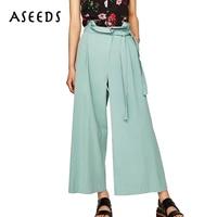 Elegant Bow Tie High Waist Wide Leg Pants Women Cotton Loose Casual Ankle Length Pants 2017