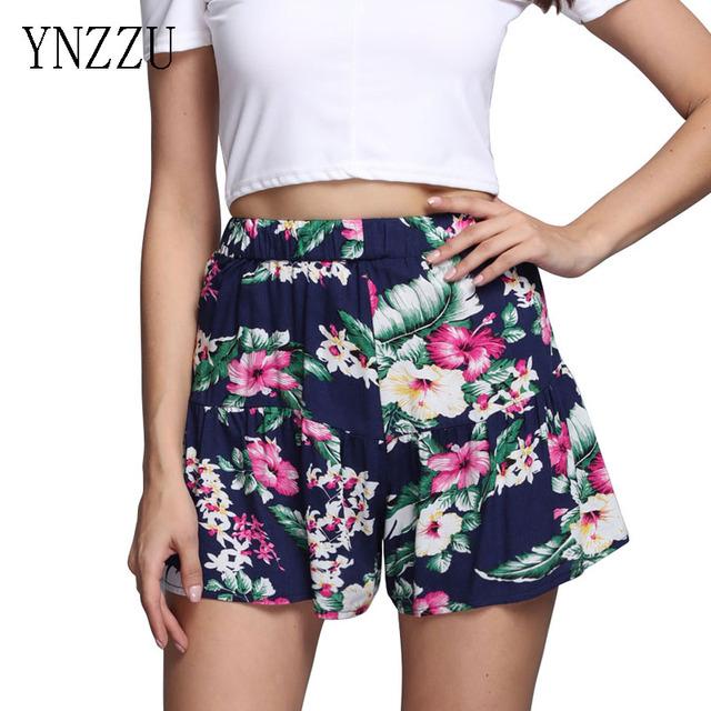 YNZZU Mujeres de Cintura Alta Floral Corto vestido de Niña de Verano Beach Shorts Casual Imprimir corto femme Shorts Cintura Elástica pantalones YB007