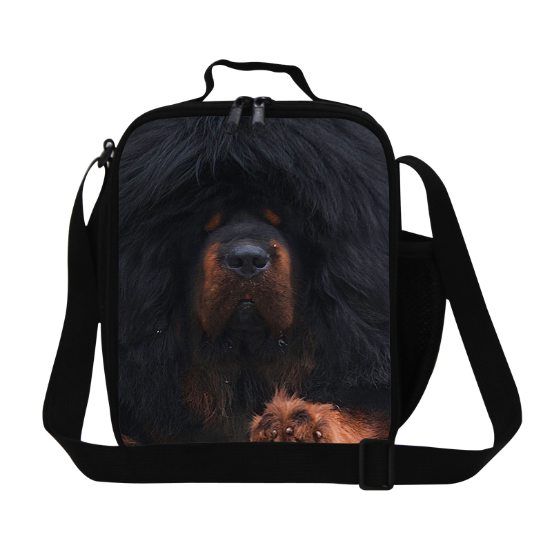 Brand New Fashion Kids Lunch Bags Animal Printing Lunch Box For Students Gifts Tibetan Mastiff Dogs Children's Picnic Food Bags image