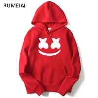 RUMEIAI 2017 Autumn Winter New Brand Marshmello Face Hoodies Men Casual Hoodies Sweatshirt Sportswear Male Fleece