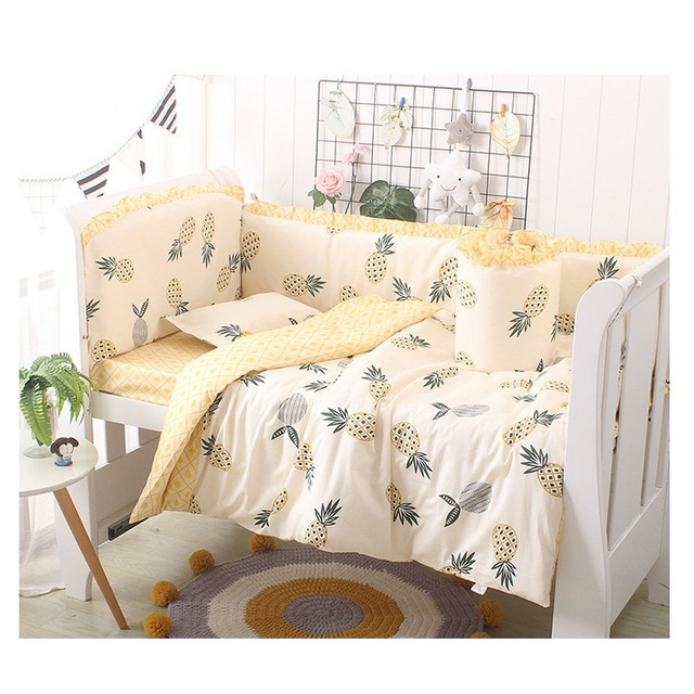 5pcs Cartoon Baby Bedding Set Cotton Crib Bedding Set Baby Bed Linens For Girls Boys Bed Bumpers Sheet Pillowcase Multi Colors