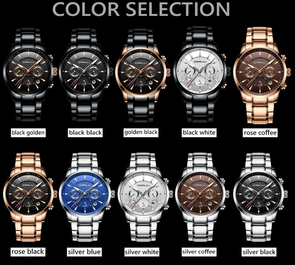 CRRJU Luxury Waterproof Chronograph Mens Watch