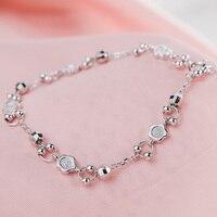 SA SILVERAGE 2018 Women Party Bracelets Real 925 Sterling Silver Fine Jewelry For Women Flower Bead Adjustable Link Pendants