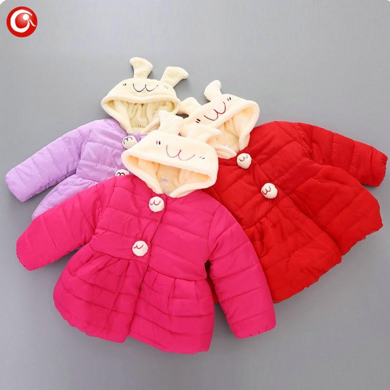 Winter Baby Girls Cartoon Rubbit Coat Thicken Kids Girl Snow Jacket Fleece Hooded Cotton Padded Outwear Christmas Clothes 2016 (3)