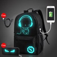 Protector Plus de Carga USB Portátil Mochila para Mochila Portátil Estudiante Mochila Bolso de la Computadora de Luz de Noche Con El Monedero