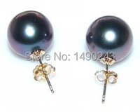AAA 9 10mm Black Round Genuine Tahitian Pearl Earring with Solid Yellow Gold Stud