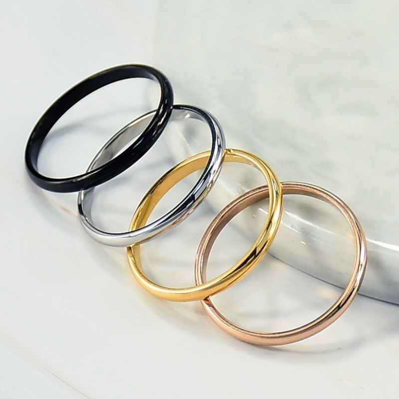 Simple 2 มิลลิเมตรบาง Titanium Steel 4 สีคู่แหวนแฟชั่น Rose Gold แหวนเงินสำหรับงานแต่งงานเครื่องประดับ