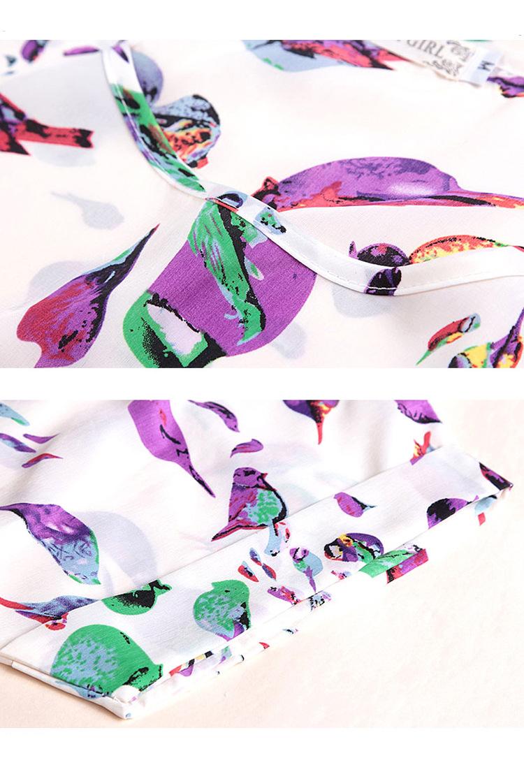 Bird Chiffon Print Blouse 20