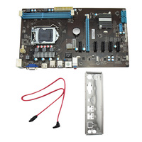 H81 6 GPU Mining Motherboard PCI E Riser 1x 16x USB Miner Machine Adapter BTC Computer
