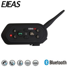 EJEAS E6 1200m 6 People VOX Bluetooth Motorcycle Intercom Headset for Half Full Face KTM Helmets Support Music MP3 GPS