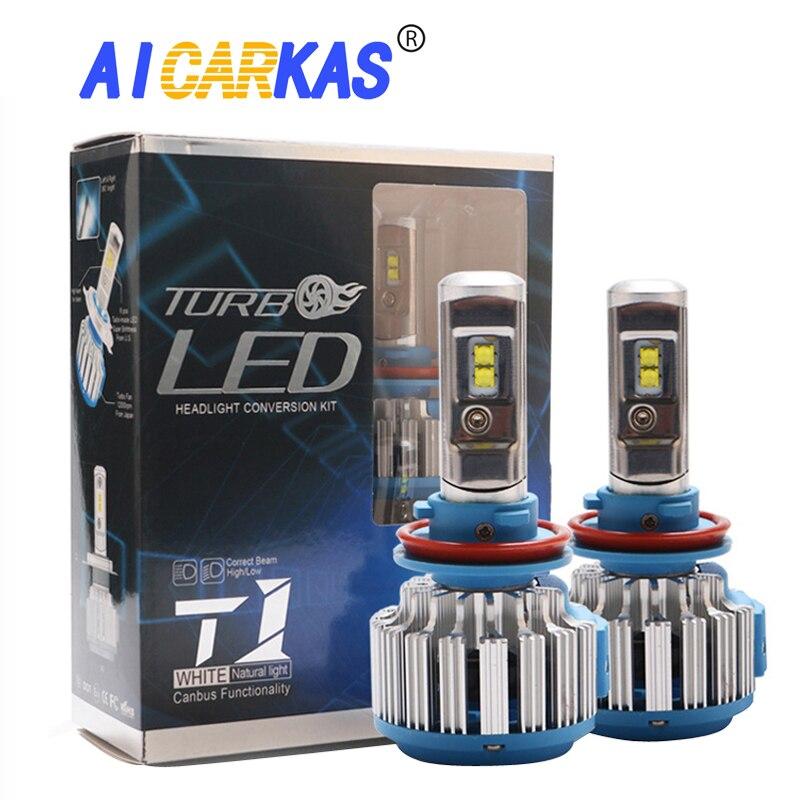 AICARKAS 2 piezas T1 serie 70 W 7200LM 6000 K H4 H1 H3 Turbo coche LED faro H7 H11 880/881 9005 HB3 9006 HB4 9007 HB5 bombilla de luz