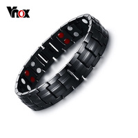 Vnox Black Men S Titanium Bracelets Bangles Magnetic Health Power Bracelet Sports Jewelry 22cm