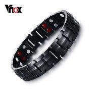 Vnox Schwarzen männer Titan Armbänder & Armreifen Magnetic Health Power Sports Schmuck 22 cm freies Box