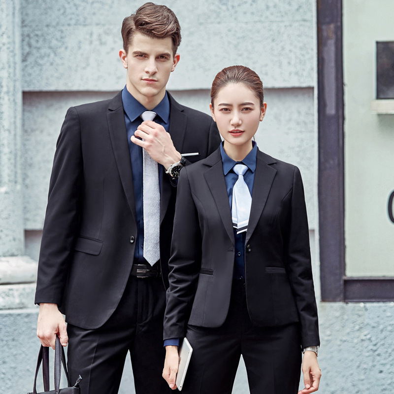 2019 Autumn And Winter Clothing Women's Suit Men And Women Long Sleeve Coat With White-Collar Suit Business Managers