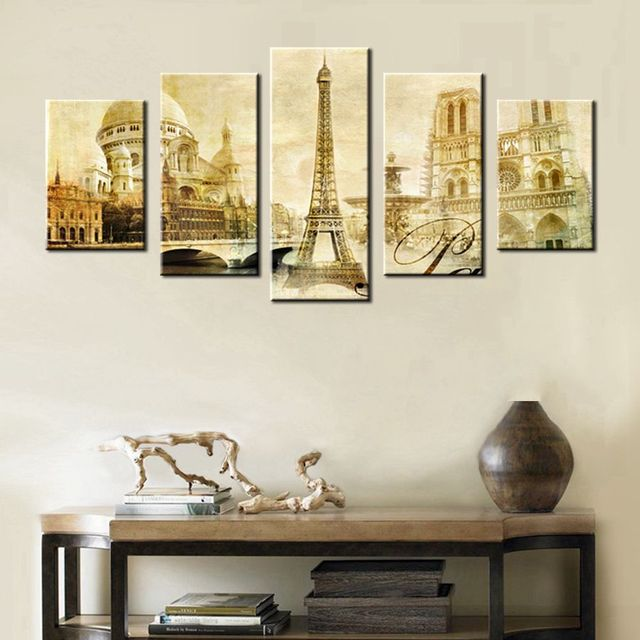 Vintage Paris Tower Post Card Retro Wall Decor Painting Print on Canvas for Modern Home Decoration & Vintage Paris Tower Post Card Retro Wall Decor Painting Print on ...