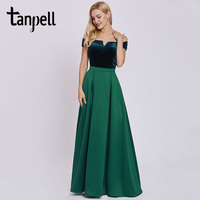 Tanpell Women Long Evening Dress Elegant Hunter Off The Shoulder A Line Floor Length Gown Cheap