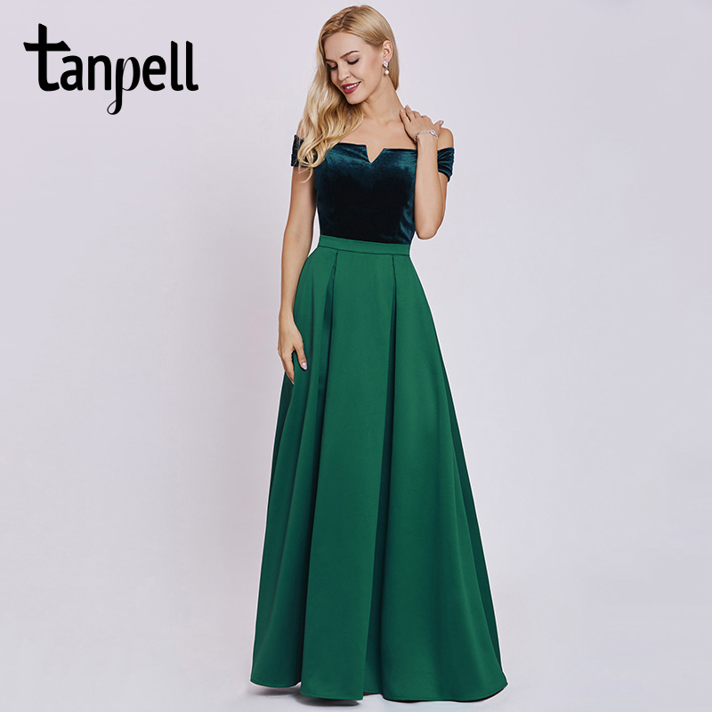 Tanpell women long   evening     dress   elegant hunter off the shoulder a line floor length gown cheap party prom formal   evening     dress