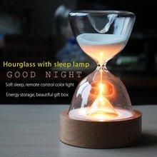 זכוכית שעון חול טיימר אורות LED חול זכוכית לילה אור שינה עוזר עם שלט רחוק עבור חג המולד יום הולדת מתנות בית תפאורה