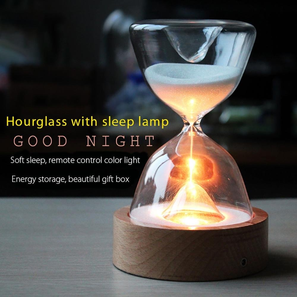 Glass Hourglass Lights Timer LED Sand Glass Night Light Sleep Helper With Remote Control For Christmas