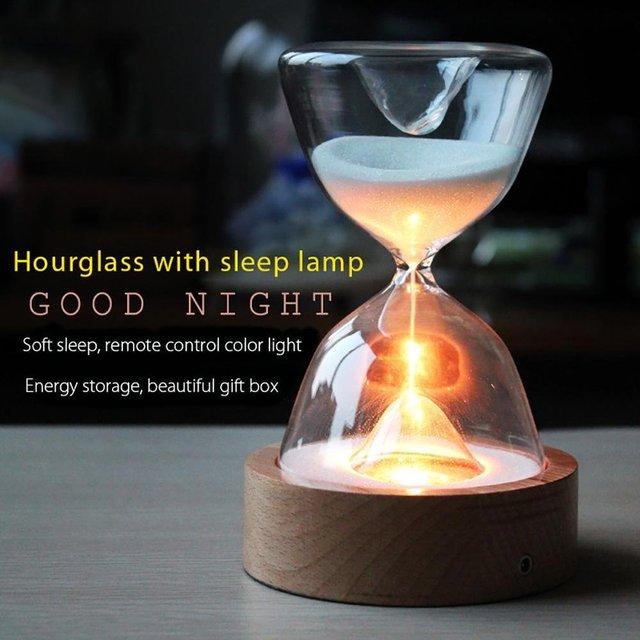 Reloj de arena de cristal temporizador con luces LED luz nocturna de arena ayudante de sueño con Control remoto para regalos de navidad cumpleaños decoración del hogar