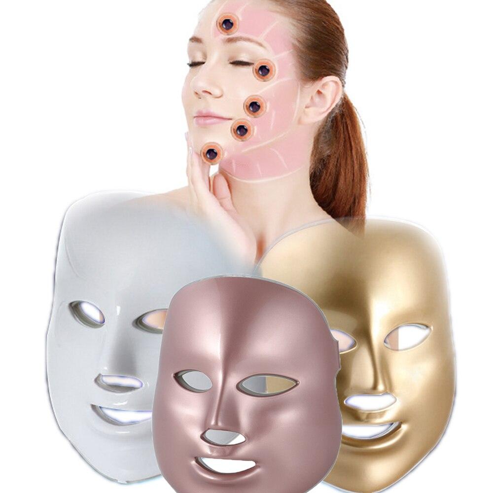 LED Facial Mask Anti-aging Photon Mask Wrinkle Acne Removal 7 Colors <font><b>Light</b></font> Skin Rejuvenation <font><b>Face</b></font> Massager Beauty Spa Tool