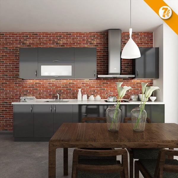 Gloss Black Kitchen Cabinets: 7 Days Delivery China High Gloss Modern Black Kitchen