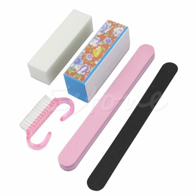 5Pcs Professional Manicure Rectangular Tools Kit Nail Files Brush ...