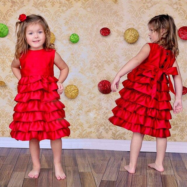 19313b6a8 Muchachas de los cabritos del Vestido Rojo de la Navidad 2015 del Bebé de  la Muchacha