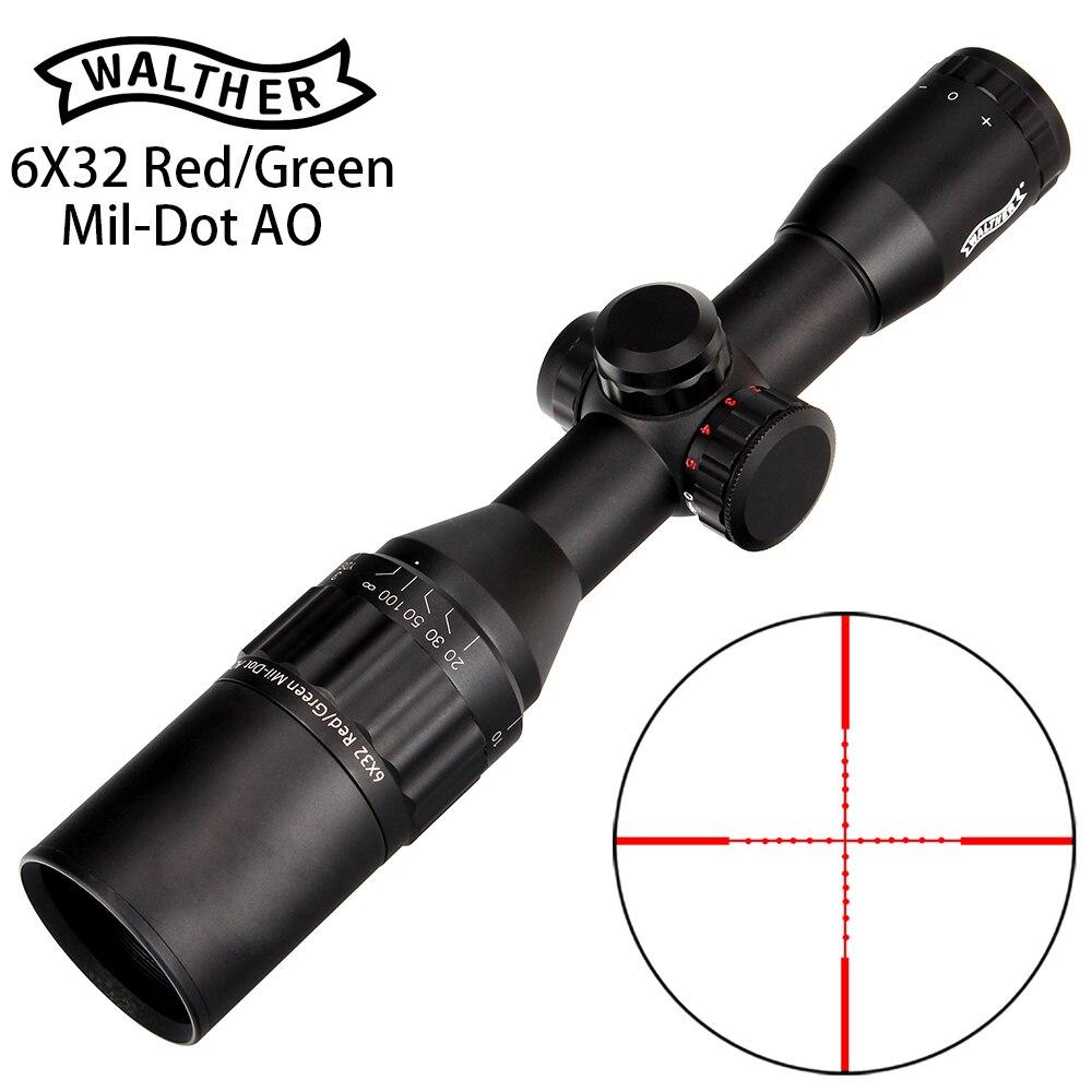 Вальтер 6x32 АО мини Mil-точка двойной Цвет светящаяся сетка тактический прицел для винтовки для охоты оптический прицел