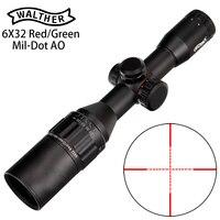 WALTHER 6x32 AO Mini Mil-Dot двухцветная светящаяся сетка тактический прицел для винтовки для охоты оптический прицел
