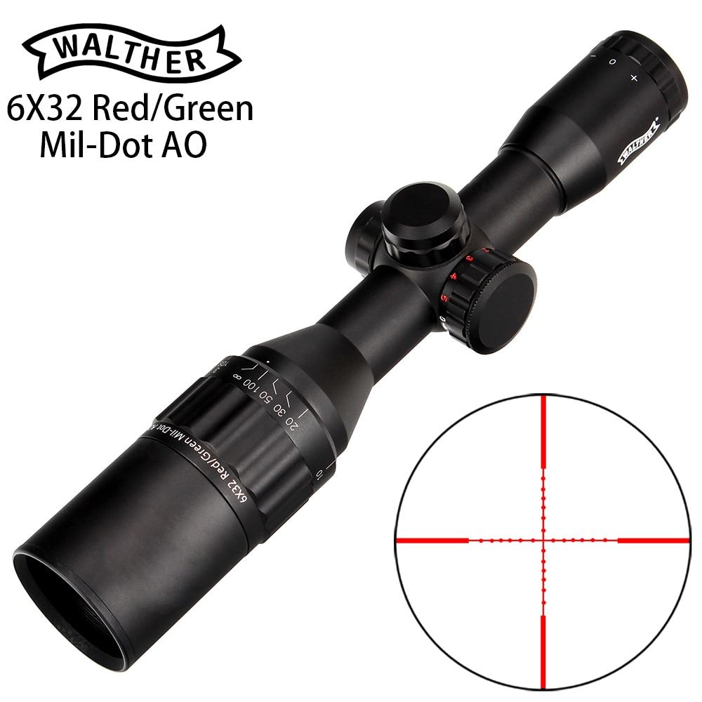 WALTHER 6x32 AO Mini Mil-Dot Double couleur réticule éclairé chasse lunette de visée tactique optique portée de fusil