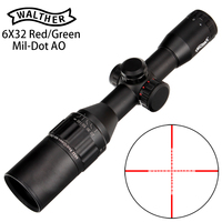 WALTHER 6x32 AO Mini Mil Dot Double Color Illuminated Reticle Hunting Riflescope Tactical Optical Sight Rifle Scope