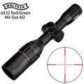 WALTHER 6x32 <font><b>AO</b></font> Mini Mil-Dot двухцветная светящаяся сетка тактический прицел для винтовки для охоты оптический прицел