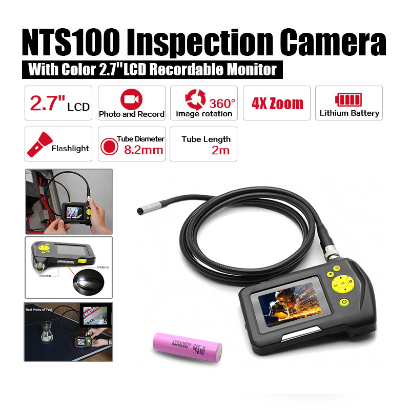 Dia 8.2mm 2.7 LCD NTS100 Endoscope Borescope 2M Snake Inspection Tube Camera DVR+Free 18650 Lithium Battery eyoyo nts100 dia 8 2mm 2 7 lcd nts100 endoscope borescope snake inspection 1m tube camera dvr