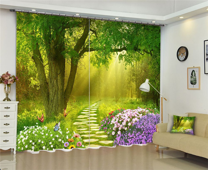 Curtains Luxury Blackout 3D Window Curtains  For Living Room office Bedroom Drapes cortinas Rideaux Customized size Green forestCurtains Luxury Blackout 3D Window Curtains  For Living Room office Bedroom Drapes cortinas Rideaux Customized size Green forest