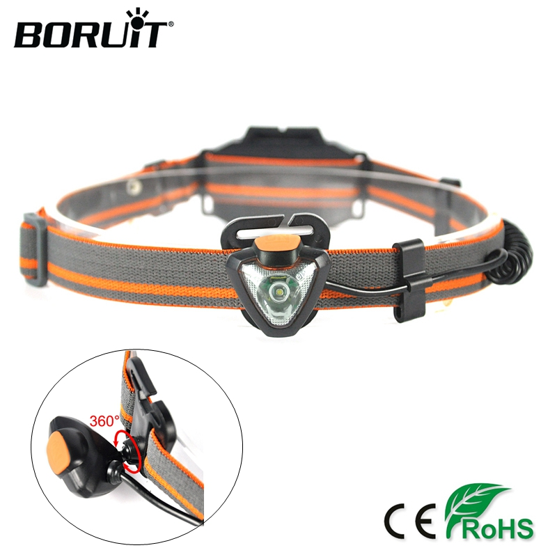 BORUIT 600LM XPE LED Mini Headlight 4 Modes Headlamp AAA Battery Head Torch Waterproof Camping Hunting Flashlight