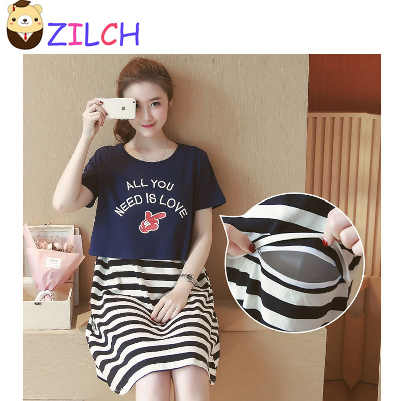 Summer Maternity Striped Two-piece Breast-feeding Dress Korean Round Neck Pregnant Women Dress Dairy