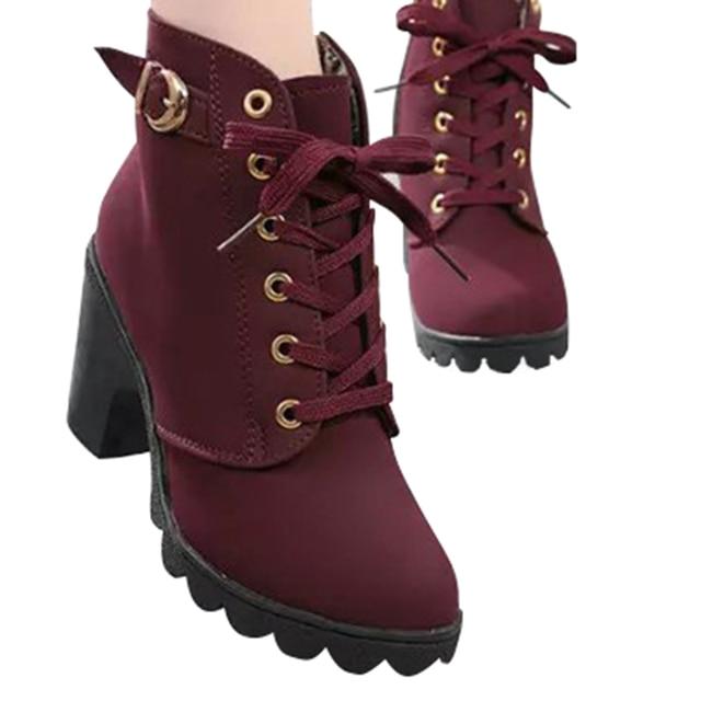 2018 Women Boots British Style Classic Women Motorcycle Martin Boots Punk Bandage Autumn Waterproof Shoes Black Shoes No.74 by Yoylap