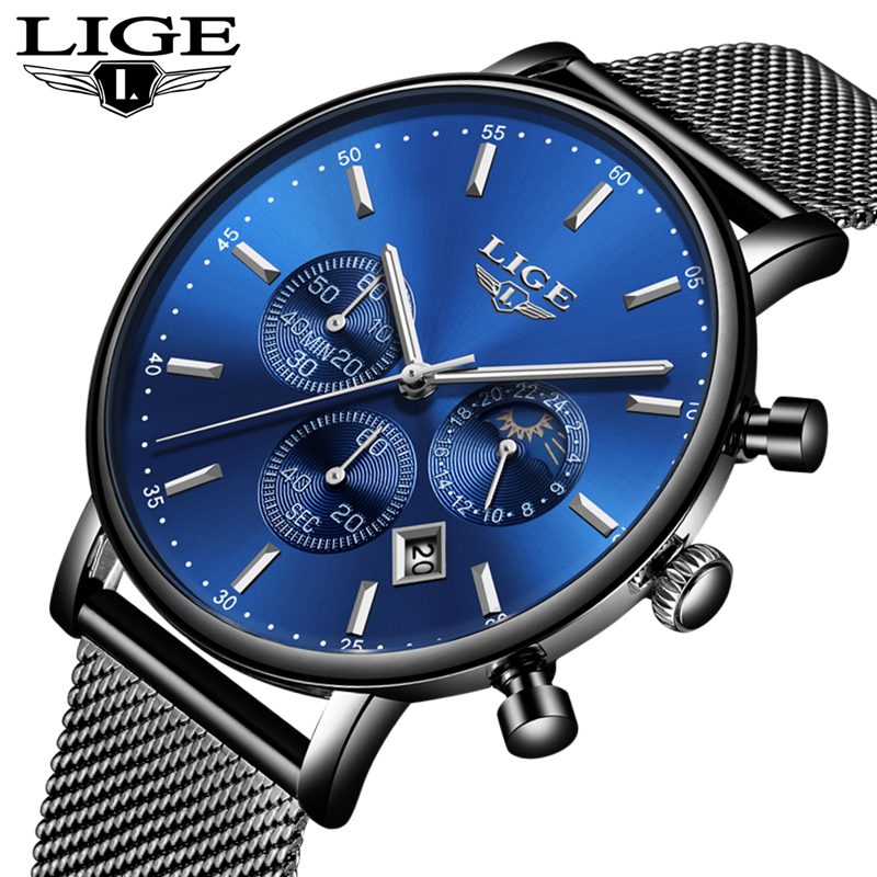 LIGE Fashion Casual Sport Mens Watches Top Brand Luxury Simple Ultra Thin Quartz Watch Men Waterproof Watches Relogio Masculino LIGE Fashion Casual Sport Mens Watches Top Brand Luxury Simple Ultra Thin Quartz Watch Men Waterproof Watches Relogio Masculino