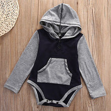2016 Baby bodysuits Boy&Girl's Climb Clothing Long Sleeve Patchwork bodysuit hooded Baby Clothes