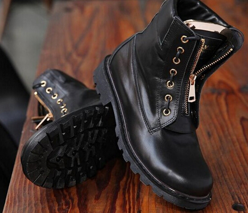 New Fashion Black Genuine Leather Flat With  Riding Boots Zipper Design Comfortable Martin Boots Spring/Autumn Boots Women