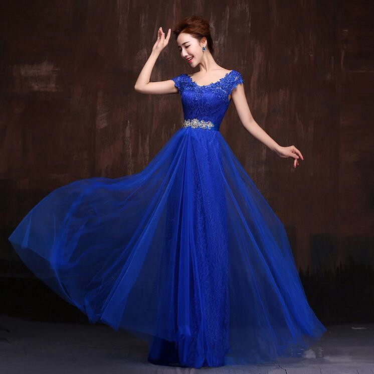 Vestido madrinha 2019 V neck lace cap sleeves ALine royal blue purple yellow green burgundy turquoise   bridesmaid     dresses   long