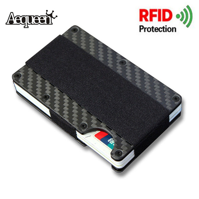 aequeen rfid wallet credit card cases anti scan metal id case aluminium credit business card holder - Business Card Cases