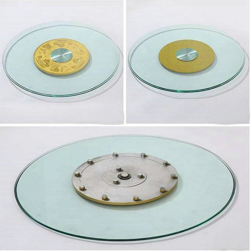 HQ GL01 Tempered Glass Top 70CM/80CM/90CM Lazy Susan With Glass Turntable Swivel Plate For Dining Table