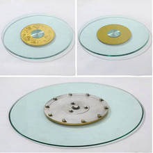 HQ GL01 Tempered Glass Top 70CM/80CM/90CM Lazy Susan with Glass Turntable Swivel Plate for Dining Table(China)