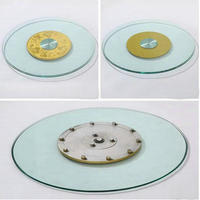 HQ GL01 Tempered Glass Top 70CM 80CM 90CM Lazy Susan With Glass Turntable Swivel Plate For