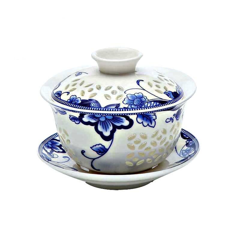 Théière en céramique exquise bleue et blanche gaiwan tasse à thé en porcelaine kung fu chinois ensemble de thé drinkware