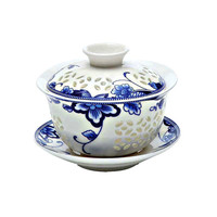 blue and white exquisite ceramic teapot gaiwan tea cup porcelain chinese kung fu tea set drinkware