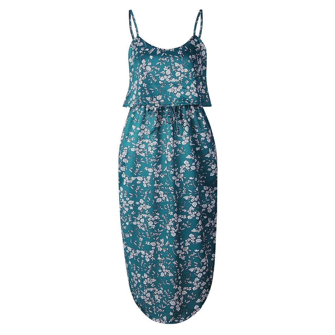 Women Dresses, Summer Sexy Printing Buttons Off Shoulder Sleeveless Dress Princess Dress,for Ladies(L,green)