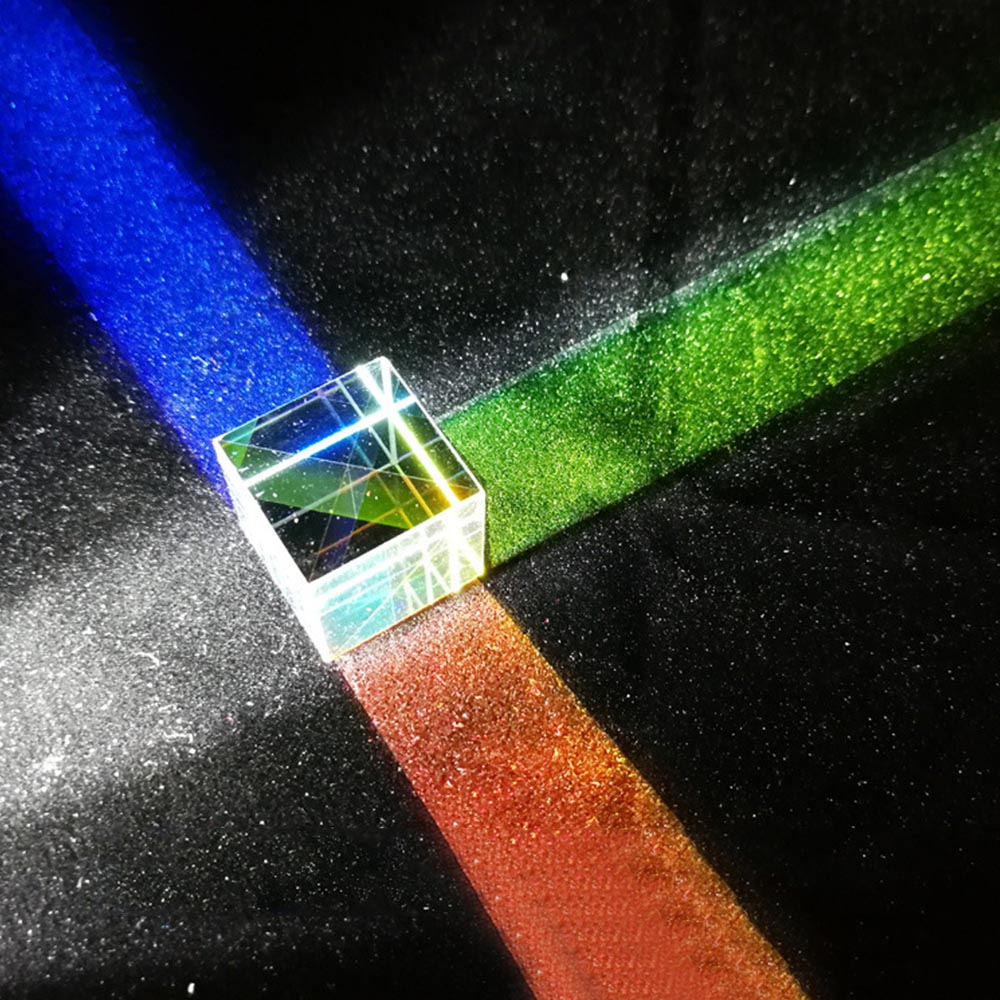 Six-Sided X-Cube Bright Light Cube Stained Glass Prism Beam Splitting Prism Optical Experiment Instrument Optical Lens 1pc